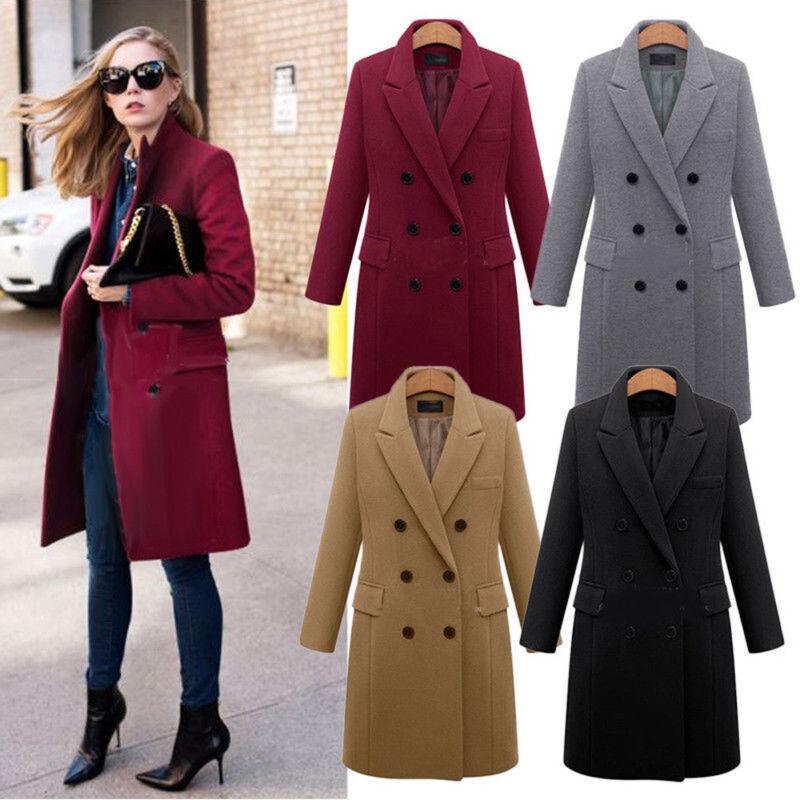Womens Winter Wide Lapel Wool Coat Trench Jacket Long Parka Overcoat Outwear