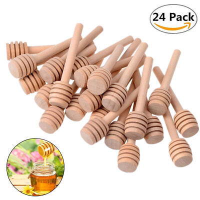 New 20pcs 8CM Wooden Syrup Honey Dipper Stirring Rod Stick DIP Drizzler
