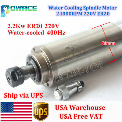 Usa2.2kw Water Cooling Spindle Motor Er20 24000rpm 220v For Cnc Milling Router