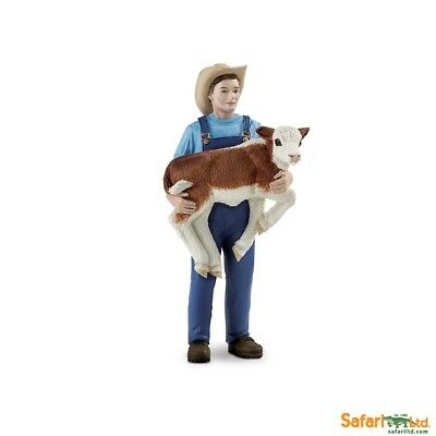 Farmer Mike with Calf ~ Safari Ltd # 820029 ~ rancher, farm worker, play people, used for sale  Shipping to Nigeria