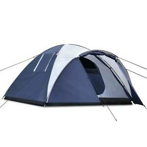 FREE MEL DEL-4 Person Double Layer Fabric Camping Tent Navy White