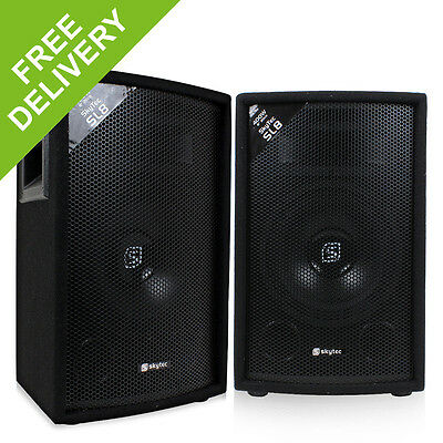 "2x Skytec 8"" Inch Passive PA Speakers Disco DJ Sound Package 800W"