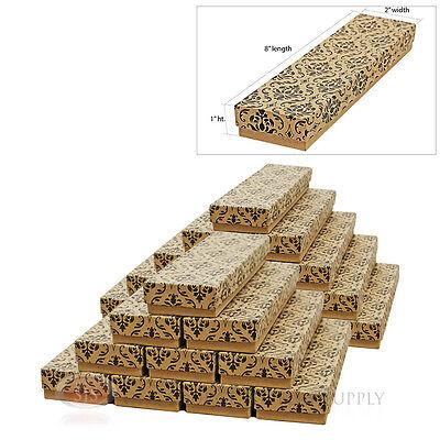 25 Damask Print Kraft 8 X 2 Cotton Filled Jewelry Gift Bracelet Boxes