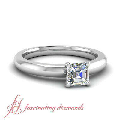 1/2 Carat Asscher Cut:Very Good Diamond Solitaire 14K Gold Engagement Ring GIA