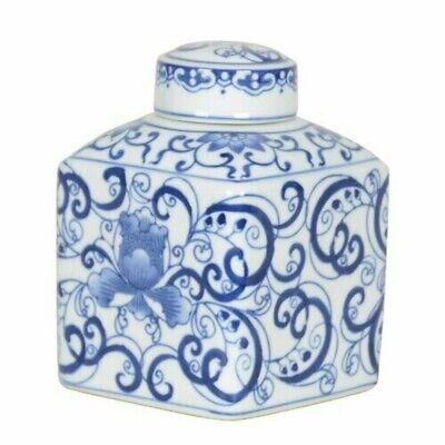 🇨🇳 Swirling Chinese Porcelain Tea Caddy. Home Decor.
