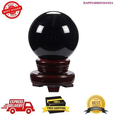 Obsidian Black Crystal Ball Sphere with Stand Divination For