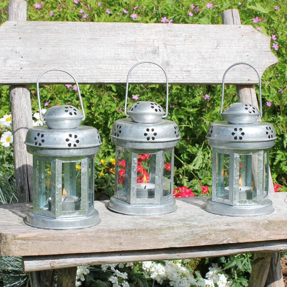3er-Set Laternen Zink Teelichthalter Metal Garten Windlicht Lotti ø 10cm //H 15cm