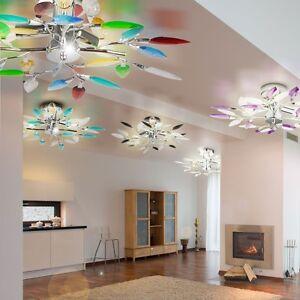 feuilles fleurs design salon chrome plafonnier lampe lustre lustre ebay. Black Bedroom Furniture Sets. Home Design Ideas