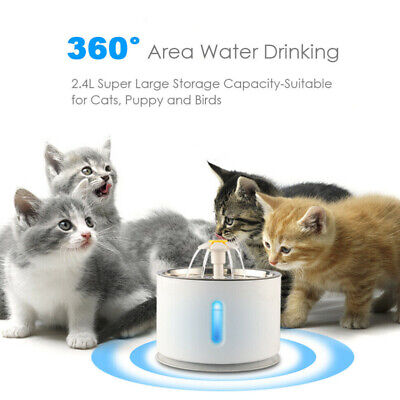 2.4L Stainless Steel Pet Water Fountain Cat Dog Automatic Waterer Dish Bowl Safe