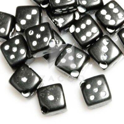 45pcs Acrylic Dice Cube Spacer Beads 6x6x6mm Black Wholesale (Dice Beads)