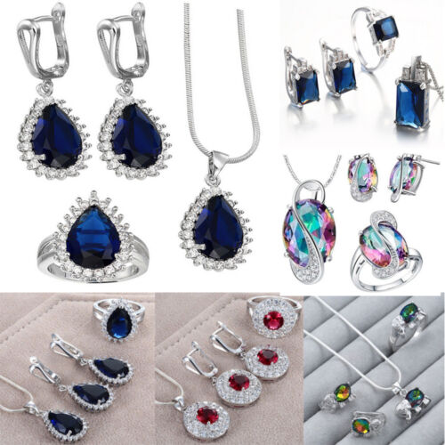925 Silver Jewelry Set Crystal Earring Ring Necklace Pendant