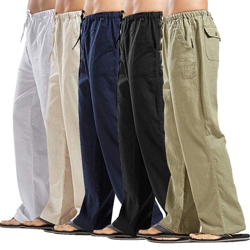 ❤️mens Cotton Linen Yoga Drawstring Pants Casual Loose Wide Leg Long Trousers Us
