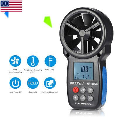 HoldPeak HP-866B LCD Digital Anemometer Air Velocity Temperature Measuring I7E9