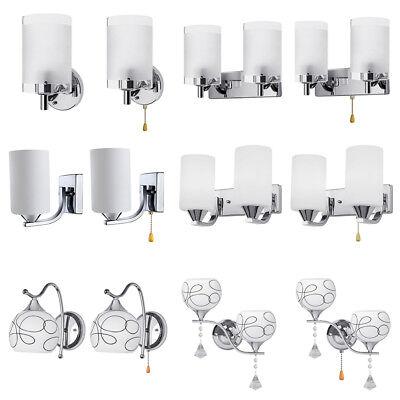 - Modern Crystal Glass Wall Sconce Light Lighting Fixture Lamp Bedroom Home Indoor