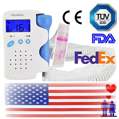 Usa Stock Fetal Doppler Heart Detector Baby Sound Beat Rate Monitor 3mhz Probe