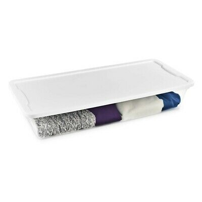 Homz Snaplock® 41 Quart Clear Underbed Storage, White Lid 6 PACK!