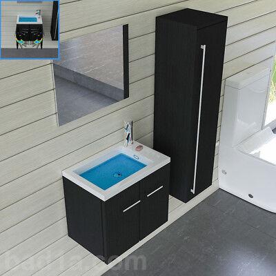 Waschbeckenunterschrank mit Spiegel Schwarz Badezimmermöbel  Waschtisch Gäste WC