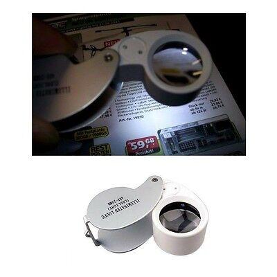 40x Juwelier Schmuck Vergrößerungs-glas Labor Reparatur Uhrmacher Lupe mit LED