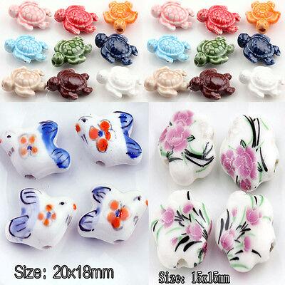 Hot Sale 5/10Pcs Flower Goldfish Tortoise Beautiful Bead Star Ceramic Charm Bead](Prima Flowers Sale)