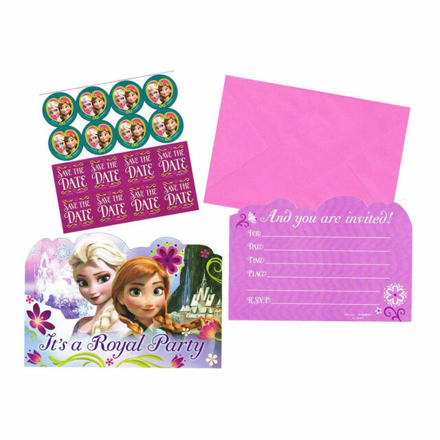 DISNEY FROZEN PARTY SUPPLIES POSTCARD INVITES INVITATIONS PACK OF 8, SEALS,