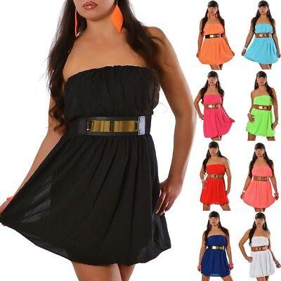 Damen Kleid Bandeau Chiffon Dress Mini Glamour Sommer Abendkleid + Gürtel #8808