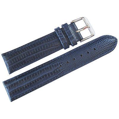 22mm deBeer Mens Navy Blue Teju Lizard-Grain Leather Watch Band Strap (Navy Leather Watch Strap)