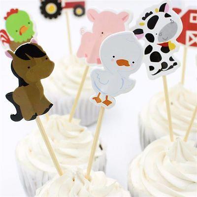 24 pcs Kids Craft Birthday Picks Cupcake Toppers Farm Animal Cake Decor - Farm Animal Cupcake Toppers