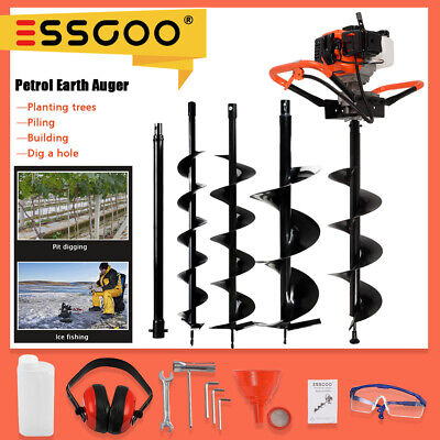 Essgoo 52cc 2-stroke Earth Auger Petrol Powered Post Hole Digger Machine 3 Bits