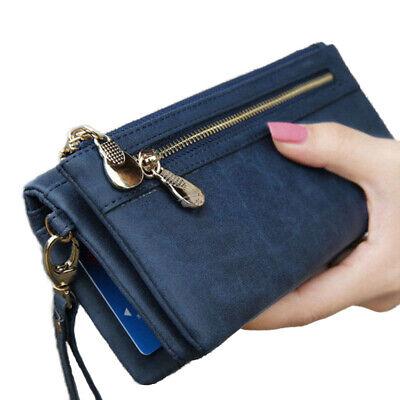 Blaue Damen Geldbörse (Damen Geldbörse Portemonnaie Geldbeutel Portmonee Brieftasche Groß Lang Blau neu)