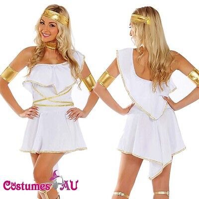 Ladies Cleopatra Roman Toga Robe Greek Goddess Fancy Dress Costume Outfits - Goddess Outfits