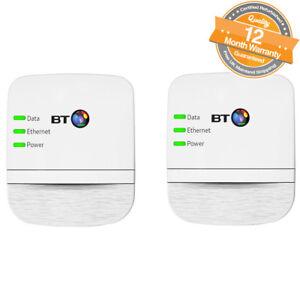 BT Home Broadband Extender 600 Kit Powerline Adapter Twin Pack of 2 in White