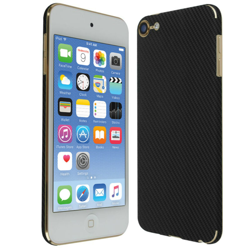 Skinomi Black Carbon Fiber Skin Cover for Apple iPod Touch [7th Gen, 2019]