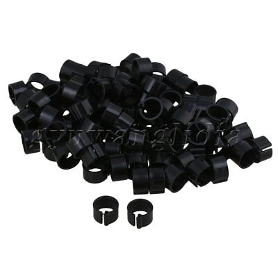 100 x Pigeon Supplies Rings Bands for Pigeons Plastic Clip 8mm Inner Dia Black