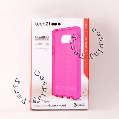 Pink Flexible Silicone - Tech21 Evo Check Slim Flexible Gel Silicone Case for Samsung Galaxy Note 5 Pink