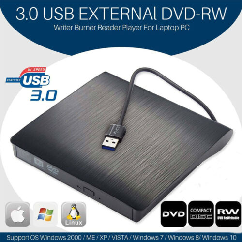 2019 Ultra Slim Portable USB 3.0 External DVD RW CD Drive Bu
