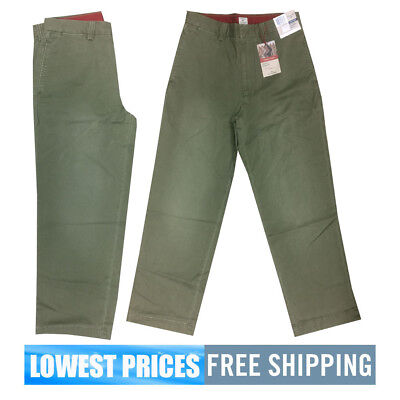 Dockers Men's NWT Iconic Khaki Flat Front  WI Olive Green Pants W/ Free Shipping