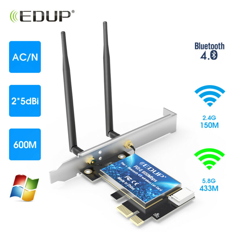 600Mbps Wireless Adapter Bluetooth Receiver for PC Desktop PCI-E WiFi Card WLAN