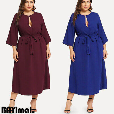 Plus Size Womens Sexy Long Sleeve Maxi Dress Ladies Casual Party Belted Dresses