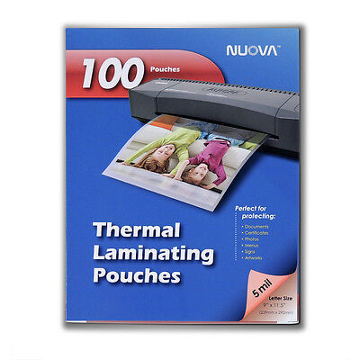 Nuova 100-pack 5 Mil Thermal Laminating Pouches 9 X 11.5 Inches Letter Size