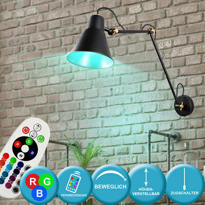 RGB LED Wand Lampe Arbeits Zimmer Lese Spot Leuchte beweglich Gold FERNBEDIENUNG