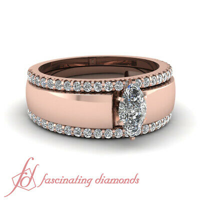 Marquise Cut Diamond Solitaire Engagement Rings With 2 Wedding Bands 1.35 Ct...