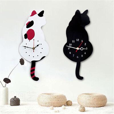 Creative Acrylic Cartoon Wagging Tail Cat Wall Clock Mute Movement Art Decor (Cat Art Decorative Wall Clock)