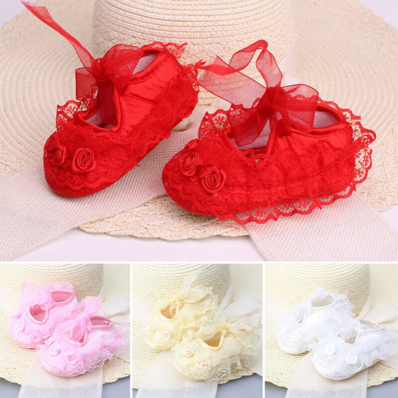 Newborn Infant Baby Girl Princess Non-Slip Lace Flower Baby Shoes Sneaker Size