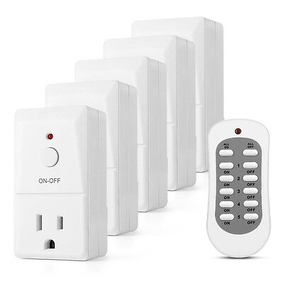 5 Pack Remote Control Outlet Wireless AC Power Outlets Light Switch Socket Plug