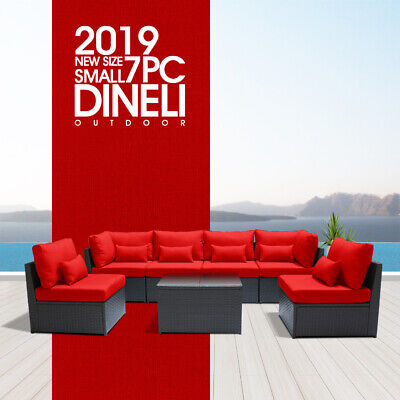 Dineli7PSmall  Outdoor Patio Furniture Rattan Wicker Sectional Sofa Chair Set RR