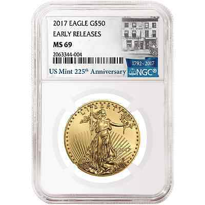 2017 $50 American Gold Eagle 1 oz. NGC MS69 225th Anniversary ER Label