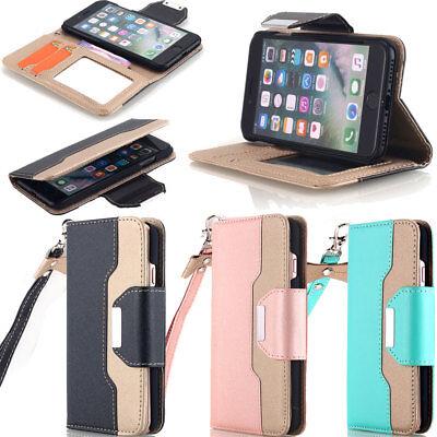 Fr iPhone 11 X 6S 7 8 Plus Leather Flip Cover Credit Card Wristlet Wallet Case