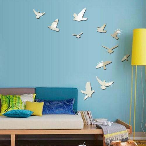 Home Decoration - DIY Removable Home 3D Mirror Wall Stickers Decal Art Vinyl Room Decor Birds Fun