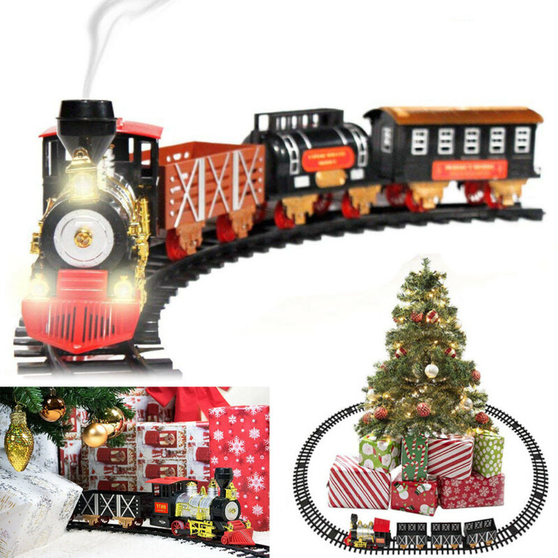 Electric Christmas Train Track Set W/ Light Sound Real Smoke Kids Toy Tree Decor