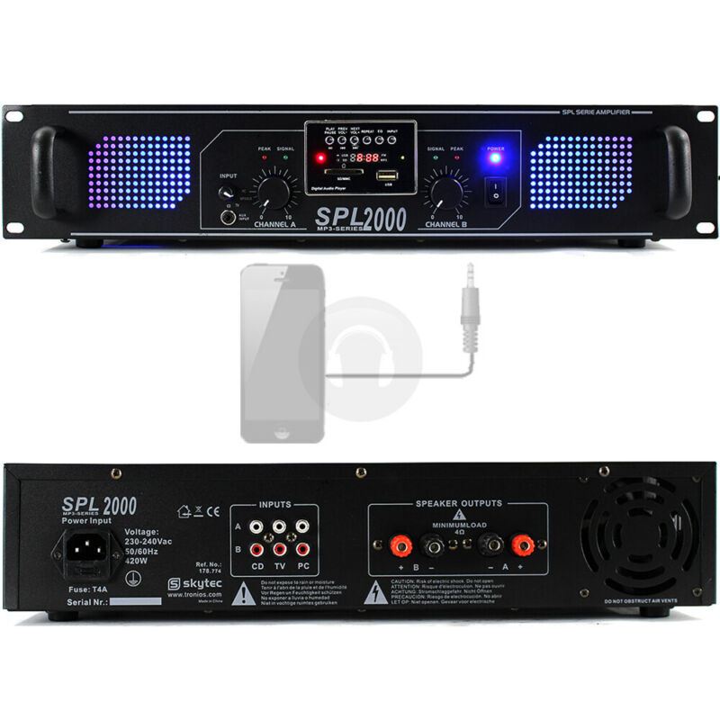 Skytec SPL-2000 Power PA Amplifier DJ Amp Mobile Phone Cable 2000 Watt UK Stock